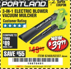 Harbor Freight Coupon 3 IN 1 ELECTRIC BLOWER VACUUM MULCHER Lot No. 62469/62337 Expired: 10/1/18 - $39.99