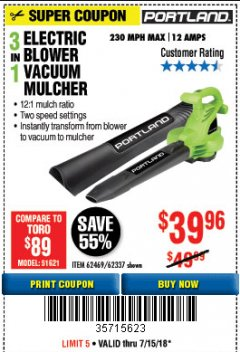 Harbor Freight Coupon 3 IN 1 ELECTRIC BLOWER VACUUM MULCHER Lot No. 62469/62337 Expired: 7/15/18 - $39.96