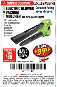 Harbor Freight Coupon 3 IN 1 ELECTRIC BLOWER VACUUM MULCHER Lot No. 62469/62337 Expired: 7/31/18 - $39.96
