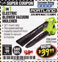 Harbor Freight Coupon 3 IN 1 ELECTRIC BLOWER VACUUM MULCHER Lot No. 62469/62337 Expired: 11/30/18 - $39.99