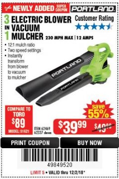 Harbor Freight Coupon 3 IN 1 ELECTRIC BLOWER VACUUM MULCHER Lot No. 62469/62337 Expired: 12/2/18 - $39.99