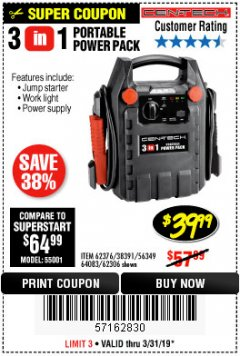 Harbor Freight Coupon 3 IN 1 ELECTRIC BLOWER VACUUM MULCHER Lot No. 62469/62337 Valid Thru: 3/31/19 - $39.99