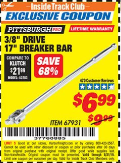 "Harbor Freight ITC Coupon 3/8"" DRIVE 17"" BREAKER BAR Lot No. 67931 Expired: 8/31/19 - $6.99"
