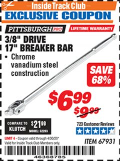 "Harbor Freight ITC Coupon 3/8"" DRIVE 17"" BREAKER BAR Lot No. 67931 Expired: 4/30/20 - $6.99"