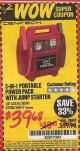 Harbor Freight Coupon 3-IN-1 PORTABLE POWER PACK WITH JUMP STARTER Lot No. 38391/60657/62306/62376 Expired: 9/30/15 - $39.68