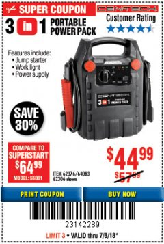 Harbor Freight Coupon 3-IN-1 PORTABLE POWER PACK WITH JUMP STARTER Lot No. 38391/60657/62306/62376/64083 Expired: 7/8/18 - $44.99