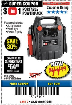 Harbor Freight Coupon 3-IN-1 PORTABLE POWER PACK WITH JUMP STARTER Lot No. 38391/60657/62306/62376/64083 Expired: 9/30/18 - $44.99