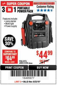 Harbor Freight Coupon 3-IN-1 PORTABLE POWER PACK WITH JUMP STARTER Lot No. 38391/60657/62306/62376/64083 Expired: 9/23/18 - $44.99