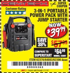 Harbor Freight Coupon 3-IN-1 PORTABLE POWER PACK WITH JUMP STARTER Lot No. 38391/60657/62306/62376/64083 Expired: 1/11/19 - $39.99