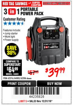 Harbor Freight Coupon 3-IN-1 PORTABLE POWER PACK WITH JUMP STARTER Lot No. 38391/60657/62306/62376/64083 Expired: 12/31/18 - $39.99