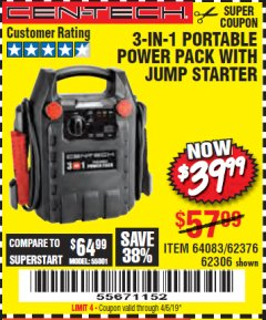 Harbor Freight Coupon 3-IN-1 PORTABLE POWER PACK WITH JUMP STARTER Lot No. 38391/60657/62306/62376/64083 Valid Thru: 4/6/19 - $39.99