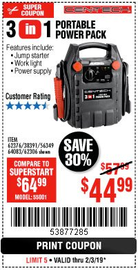 Harbor Freight Coupon 3-IN-1 PORTABLE POWER PACK WITH JUMP STARTER Lot No. 38391/60657/62306/62376/64083 Expired: 2/3/19 - $44.99