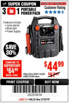 Harbor Freight Coupon 3-IN-1 PORTABLE POWER PACK WITH JUMP STARTER Lot No. 38391/60657/62306/62376/64083 Expired: 2/10/19 - $44.99