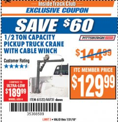 Harbor Freight ITC Coupon 1/2 TON CAPACITY PICKUP CRANE WITH CABLE WINCH Lot No. 61522/60731/37555 Expired: 7/31/18 - $129.99