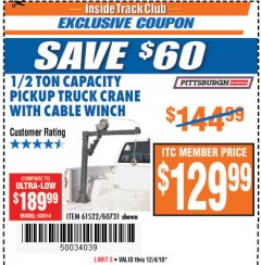 Harbor Freight ITC Coupon 1/2 TON CAPACITY PICKUP CRANE WITH CABLE WINCH Lot No. 61522/60731/37555 Expired: 12/4/18 - $129.99