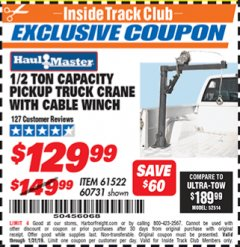 Harbor Freight ITC Coupon 1/2 TON CAPACITY PICKUP CRANE WITH CABLE WINCH Lot No. 61522/60731/37555 Expired: 1/31/19 - $129.99
