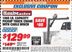 Harbor Freight ITC Coupon 1/2 TON CAPACITY PICKUP CRANE WITH CABLE WINCH Lot No. 61522/60731/37555 Valid Thru: 3/31/19 - $129.99