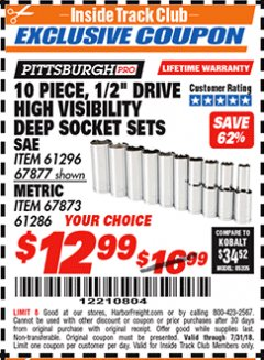 "Harbor Freight ITC Coupon 10 PIECE, 1/2"" DRIVE HIGH VISIBILITY DEEP WALL SOCKET SETS Lot No. 61296/67877/67873/61286 Expired: 7/31/18 - $12.99"