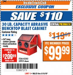 Harbor Freight ITC Coupon 30 LB. CAPACITY ABRASIVE BENCHTOP BLAST CABINET Lot No. 62454/42202 Expired: 5/15/18 - $99.99