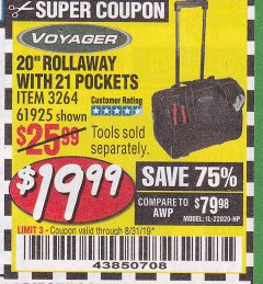 "Harbor Freight Coupon 20"" ROLLAWAY TOOL BAG Lot No. 3264/61925 Expired: 8/31/19 - $19.99"