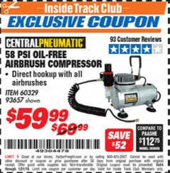 Harbor Freight ITC Coupon 58 PSI OILLESS AIRBRUSH COMPRESSOR Lot No. 69433/60329/93657 Expired: 1/31/19 - $59.99