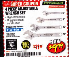 Harbor Freight Coupon 4 PIECE ADJUSTABLE WRENCH SET Lot No. 903/69427/60690 Valid: 2/18/20 - 4/18/20 - $9.99