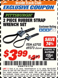 Harbor Freight ITC Coupon 2 PIECE RUBBER STRAP WRENCH SET Lot No. 69373/94119/40198/62702 Expired: 8/31/18 - $3.99