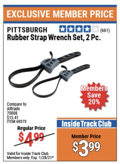 Harbor Freight ITC Coupon 2 PIECE RUBBER STRAP WRENCH SET Lot No. 69373/94119/40198/62702 Valid Thru: 1/28/21 - $3.99