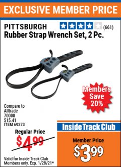 Harbor Freight ITC Coupon 2 PIECE RUBBER STRAP WRENCH SET Lot No. 69373/94119/40198/62702 Valid: 1/1/21 - 1/28/21 - $3.99