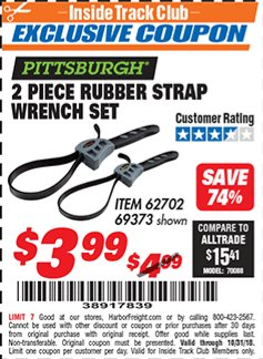 Harbor Freight ITC Coupon 2 PIECE RUBBER STRAP WRENCH SET Lot No. 69373/94119/40198/62702 Expired: 10/31/18 - $3.99