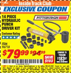 Harbor Freight ITC Coupon 14 PIECE HYDRAULIC PUNCH DRIVER KIT Lot No. 96718/56411 Expired: 5/31/18 - $79.99