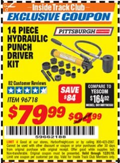 Harbor Freight ITC Coupon 14 PIECE HYDRAULIC PUNCH DRIVER KIT Lot No. 96718/56411 Expired: 12/31/18 - $79.99