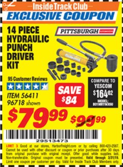 Harbor Freight ITC Coupon 14 PIECE HYDRAULIC PUNCH DRIVER KIT Lot No. 96718/56411 Valid Thru: 3/31/19 - $79.99