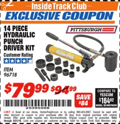 Harbor Freight ITC Coupon 14 PIECE HYDRAULIC PUNCH DRIVER KIT Lot No. 96718/56411 Expired: 8/31/18 - $79.99