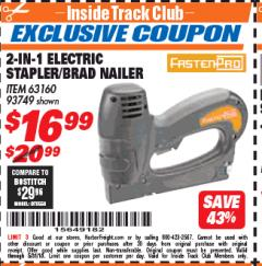 Harbor Freight ITC Coupon 3-IN-1 STAPLER/BRAD/PIN NAILER Lot No. 93749/63160 Expired: 5/31/18 - $16.99
