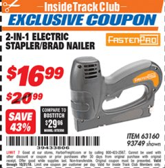 Harbor Freight ITC Coupon 3-IN-1 STAPLER/BRAD/PIN NAILER Lot No. 93749/63160 Expired: 10/31/18 - $16.99