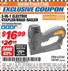 Harbor Freight ITC Coupon 3-IN-1 STAPLER/BRAD/PIN NAILER Lot No. 93749/63160 Expired: 3/31/19 - $16.99
