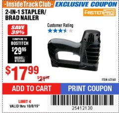 Harbor Freight ITC Coupon 3-IN-1 STAPLER/BRAD/PIN NAILER Lot No. 93749/63160 Expired: 10/8/19 - $17.99