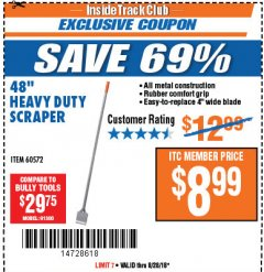 "Harbor Freight ITC Coupon 48"" HEAVY DUTY SCRAPER Lot No. 60572 Expired: 8/28/18 - $8.99"