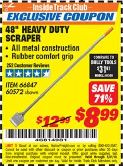 "Harbor Freight ITC Coupon 48"" HEAVY DUTY SCRAPER Lot No. 60572 Expired: 5/31/19 - $8.99"