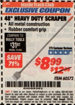 "Harbor Freight ITC Coupon 48"" HEAVY DUTY SCRAPER Lot No. 60572 Valid Thru: 7/31/19 - $8.99"