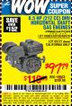 Harbor Freight Coupon 6.5 HP (212 CC) OHV HORIZONTAL SHAFT GAS ENGINES Lot No. 60363/68120/69730/68121/69727 Expired: 9/29/15 - $97.79