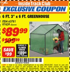 Harbor Freight ITC Coupon 6 FT. x 6 FT. GREENHOUSE Lot No. 97439 Expired: 9/30/18 - $89.99
