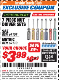 Harbor Freight ITC Coupon 7 PIECE NUT DRIVER SETS Lot No. 69109/69110 Dates Valid: 2/1/19 - 2/28/19 - $3.99
