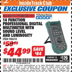 Harbor Freight ITC Coupon 14 FUNCTION PROFESSIONAL DIGITAL MULTIMETER WITH SOUND LEVEL AND LUMINOSITY Lot No. 98674 Valid Thru: 2/28/19 - $44.99