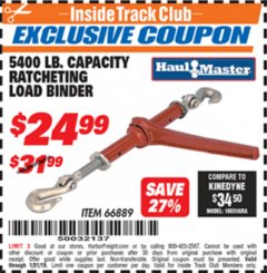 Harbor Freight ITC Coupon 5400 LB. RATCHETING LOAD BINDER Lot No. 66889 Expired: 1/31/19 - $24.99