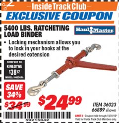 Harbor Freight ITC Coupon 5400 LB. RATCHETING LOAD BINDER Lot No. 66889 Expired: 10/31/19 - $24.99