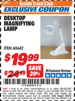Harbor Freight ITC Coupon DESKTOP MAGNIFYING LAMP Lot No. 60642/97448 Dates Valid: 12/31/69 - 2/28/19 - $19.99