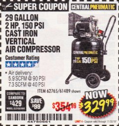 Harbor Freight Coupon 2 HP, 29 GALLON 150 PSI CAST IRON VERTICAL AIR COMPRESSOR Lot No. 62765/68127/69865/61489 Expired: 11/30/18 - $329.99