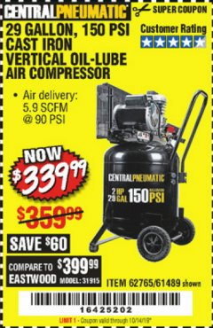 Harbor Freight Coupon 2 HP, 29 GALLON 150 PSI CAST IRON VERTICAL AIR COMPRESSOR Lot No. 62765/68127/69865/61489 Expired: 10/14/19 - $339.99